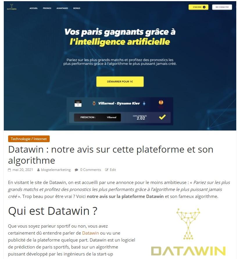 avis datawin sur le blogtelemarketing.fr